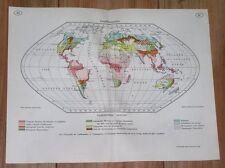 1937 ORIGINAL VINTAGE MAP OF THE WORLD / SOIL AGRICULTURE