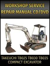 Takeuchi Tb025 Tb030 Tb035 Compact Excavator Service Repair Manual On Cd