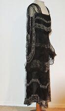 Edwardian - 1920's Black Tulle Beaded Dress w Angel Sleeves Med