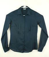 Van Heusen Studio womens size XS tailored top navy blue long sleeve button front
