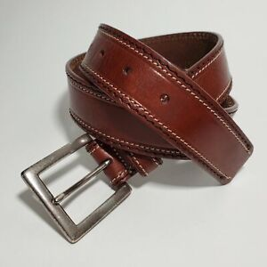FOSSIL Womens Small Stitched Leather Waist Belt Brown