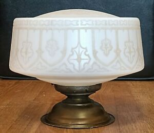 Professionally Restored! Antique Embossed Milk Glass Ceiling Light Fixture