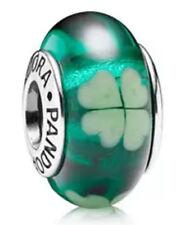 Authentic Pandora SILVER 925 ale charm bead  kiss me Irish green clover 790927