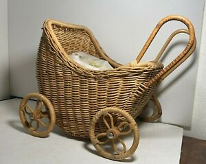 Vintage Mini Wicker Baby Carriage - Made in China