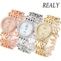 Fashion Women 's Ladies Crystal Luxury Steel Watch Gold Bracelet Wrist Watches