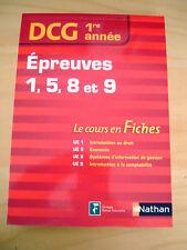 DCG 1 année Epreuves 1 5 8 9 cours en fiches Droit Economie Gestion Comptabilité