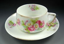 Silesia Germany Vintage White Flat Tea Cup and Saucer Set with Pink Floral