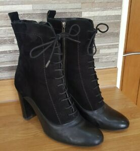Womens Genuine Leather & Suede Victorian Lace Up Ankle Boots UK 7 Steampunk