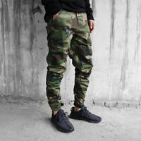 Mens Camo Skinny Casual Overall Cargo Slim Fit Camouflage Trouser Pocket Pants
