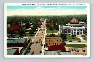 Postcard LA Lake Charles Louisiana Bird's Eye View Ryan Street c1930s X24