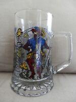 ALWE West Germany Heavyweight Glass Beer Mug Stein, Multicolor Medieval Men
