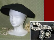 Antique Vintage Flapper Fascinator Hat-Gatsby-Black Wool Felt Made in New York