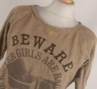 Bershka Brown Graphic Cotton Womens Basic Tee Size M (Regular)