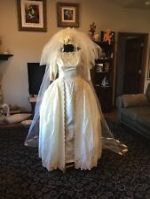 Vintage Cahill Beverly Hills Wedding Gown Tafetta Wiggle Dress Wrap Side