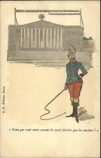 French Political Commentary Satire Officer w/ Lion Whip Artist Signed Postcard