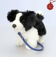 KEEL 30cm SOFT STANDING BORDER COLLIE PUPPY DOG WITH LEAD TOY CUTE - NEW PLUSH