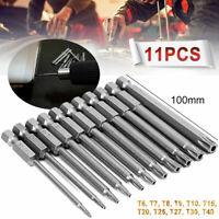 11 Stk Torx Bits Schraubendreher Set Extra Lang(100Mm) Und Magnetisch T6-T40 DE