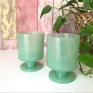 Vintage Plastic Turquoise Goblets 2PC set