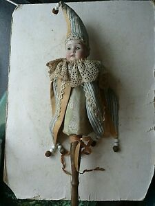 ANTIQUE FINE FAB  MUSICAL  DOLL CHILDS  RATTLE JESTER,  UNUSUAL ITEM. 17 INCH