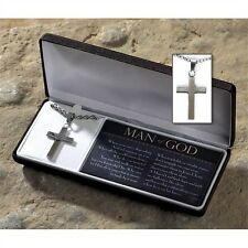 "MAN OF GOD Stainless Steel Box Cross Necklace, on 24"" Chain, by Dicksons"