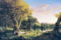The Picnic by Thomas Cole 75cm x 50cm High Quality Canvas Print