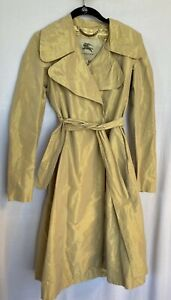 Authentic New Tags Burberry Women's Gold Trench Dress Coat $895 Size 2