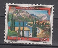 ITALIA FRANCOBOLLO VARIETA' 1981 VEDUTE RIVA DEL GARDA  CONTORNO SPOSTATO FOTO