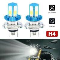 H4 9003 HB2 Motorcycle Headlight High Power 4 Side COB LED Bulb HID Hi/Low Beam