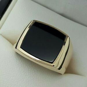 9ct Yellow Gold Black Onyx Signet Ring, Finger Size N