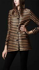 BURBERRY PRORSUM Striped Woven Raffia Coat Size: 44 Retail$2,495, New.