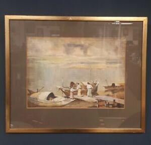 "1920s ""Raining in Irrawaddy"" watercolour by Burmese master painter Saya Saung"