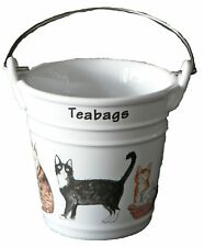 Cats Teabag tidy bucket shaped used teabag pot, perfect for a good quantity