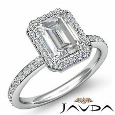 Emerald Cut Diamond Halo Vintage Engagement Ring GIA G SI1 14k White Gold 2 ct
