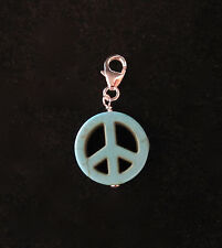 925 Sterling silver PEACE SIGN Symbol bead clip on charm pendant