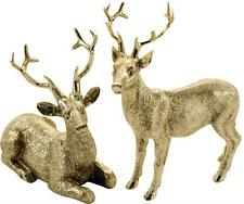Goldener Hirsch - funkelnder Dekohirsch Figur Landhausstil Weihnachten 10-16 cm