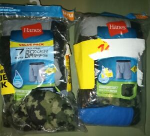 Hanes Boys Boxer Briefs ComfortSoft Flex Waistband Tag-free new 13 pairs M 10-12