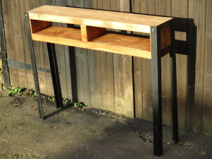 Bespoke H80 W100 D20cm rustic industrial steel console table Pigeon Holes shelf