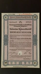 4 % Kommunal-SV Sächsische Bodenkreditanstalt 2000 RM Sept. 1940 Dresden