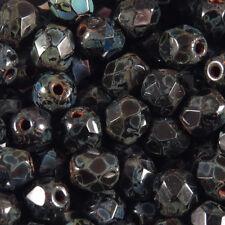 Facettes de Bohème 4mm Jet Picaso Lot de 50 perles