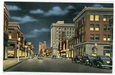 Main Street at Night Cars Oshkosh Wisconsin linen postcard
