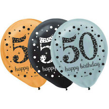 OVER THE HILL Sparkling Celebration 50th BIRTHDAY LATEX BALLOONS (15) ~ Supplies