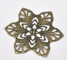 New 30 Bronze Tone Filigree Flower Wraps Connectors 57mm
