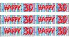 3 Pk Plastic Ladies Men HAPPY 30th BIRTHDAY 30 Today Banner Party Decoration 9ft