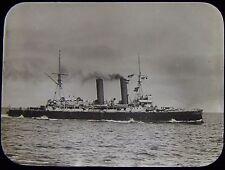 Glass Magic Lantern Slide HMS BLENHEIM C1910 PHOTO ROYAL NAVY BATTLESHIP