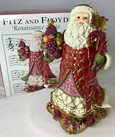 "Fitz Floyd Renaissance Santa Claus Music Box Plays Deck the Halls 7"" in Box"