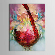 Hand Painted Red Wine Oil Painting on Canvas Modern Abstract  No Frame
