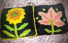 "Groovy Vintage Shag Needlework Needlepoint Pillow Flowers 12""x 12"""