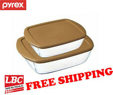 Pyrex glass storage dish 2.5L + 1.1L gold made in France X corelle corningware
