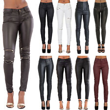 NEW WOMENS LEATHER LOOK JEANS SEXY TROUSERS LADIES BLACK SLIM FIT SIZE 6-14