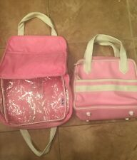PB TEEN Pink And White Leather Like Bags W Lots Of Pocket And Zip Compartarments